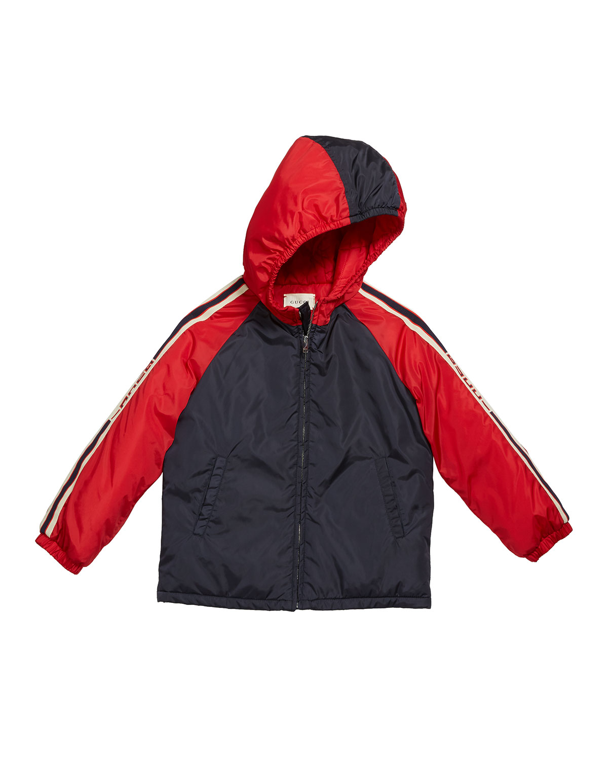 Gucci Boy's Colorblock Hooded Jacket w/ Logo Taping, Size 12-36 Months