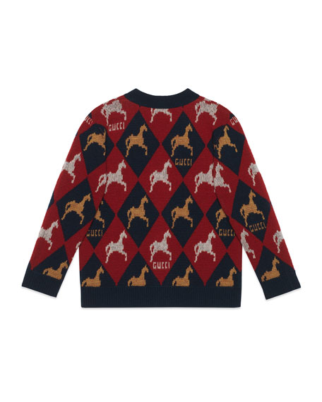 Gucci Wool Argyle Cardigan Sweater w/ Horse Intarsia, Size 4-12
