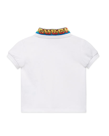Gucci Short-Sleeve Polo Shirt w/ Rainbow Embroidered Collar, Size 12-36 Months