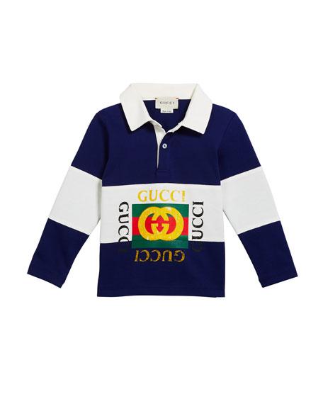 Gucci Boy's Logo Rugby Stripe Polo Shirt, Size 12-36 Months