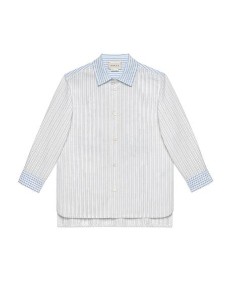 Gucci Multi Oxford Stripe Button-Down Shirt w/ Maison de L'Amour Crest, Size 4-12