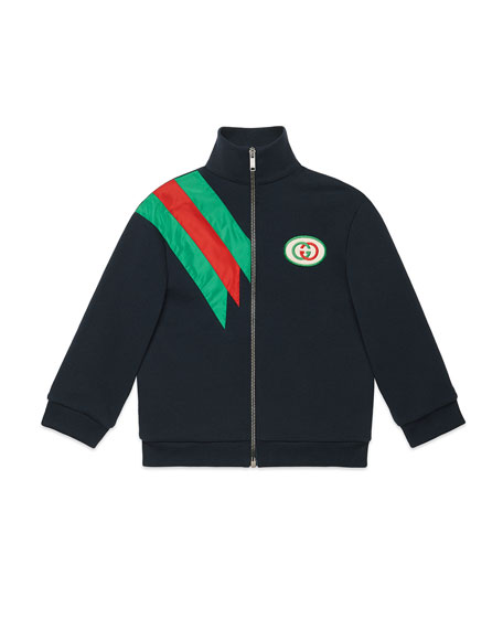Gucci Zip-Up Sweatshirt w/ Contrast Striping, Size 4-12