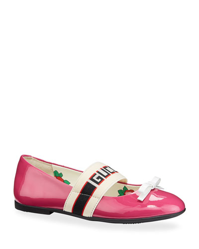 Patent Leather Gucci Band Ballet Flats, Toddler/Kids