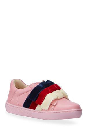 Gucci Girl's New Ace Velvet-Web Bow Sneakers, Toddler