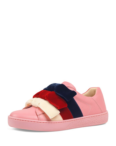 Girl's New Ace Velvet-Web Bow Sneakers  Toddler/Kids