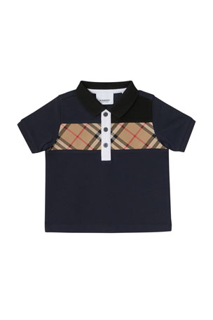 Burberry Jeff Contrasting Polo w/ Check Chest, Size 6M-2