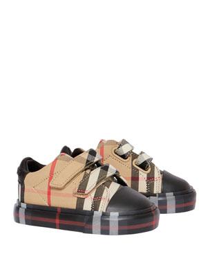 64fdee6e8 Burberry Kid's Mini Markham Check Sneakers, ...