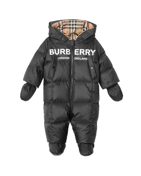 Burberry Skylar Quilted Logo Snowsuit, Size 6-18 Months