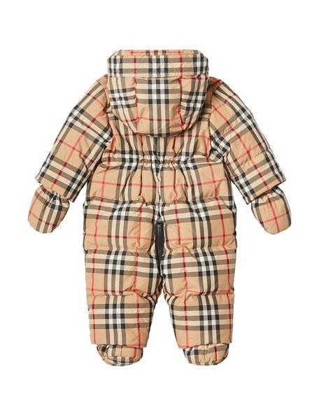 Burberry Skylar Check Snowsuit, Size 6-18 Months
