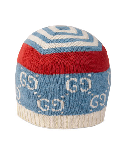 Babies' GG Printed Knit Beanie Hat, Size S-L