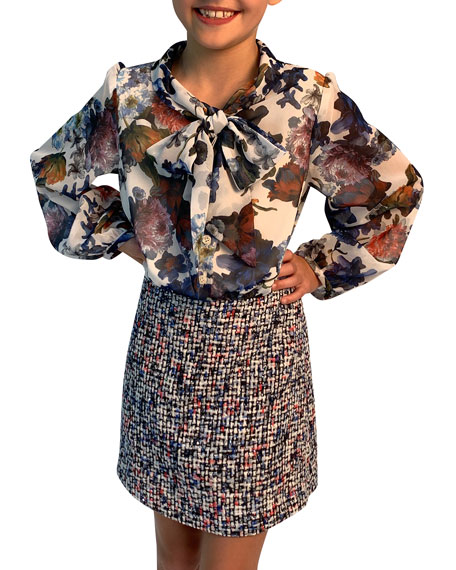 Helena Floral Chiffon & Tweed Mock Outfit Dress, Size 7-14