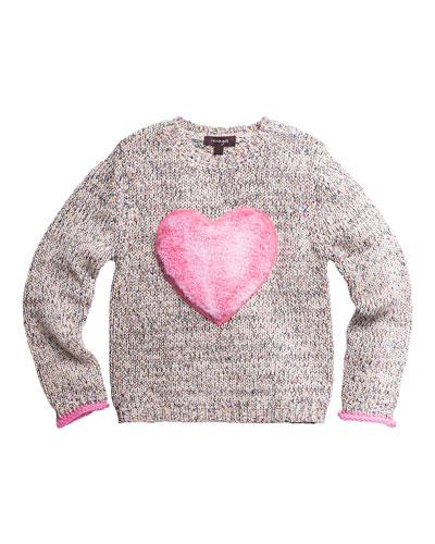 Knit Sweater w/ Faux Fur Heart Patch  Size 4-6