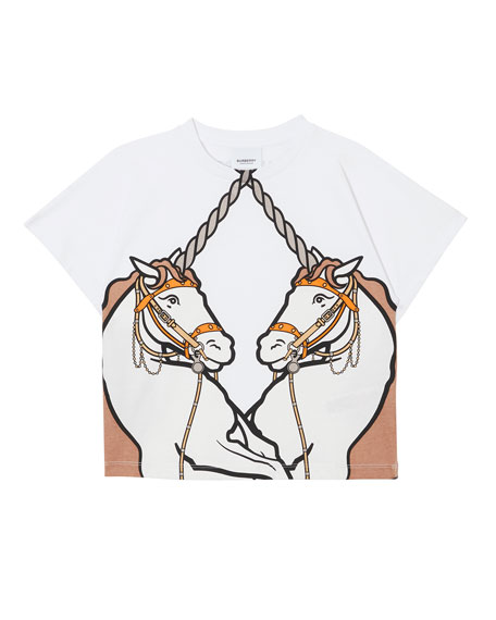 Burberry Double Unicorn Graphic Tee, Size 3-14