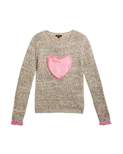 Girl's Multicolored Knit Sweater w/ Faux Fur Heart Patch  Size 7-14