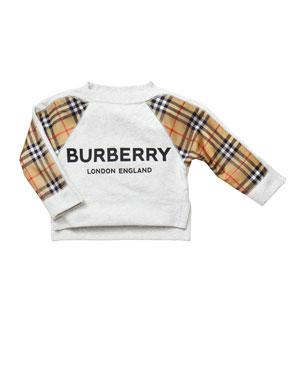 2808a1b4d Burberry Mini Esther Check-Trim Sweatshirt, Size 3-14
