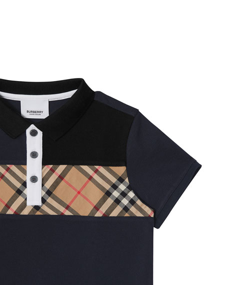 Burberry Jeff Contrasting Polo w/ Check Chest, Size 3-14