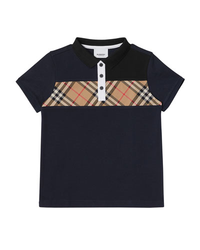 Jeff Contrasting Polo w/ Check Chest  Size 3-14