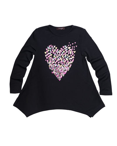 Multicolor Sequin Heart Graphic Jersey Tunic  Size 4-6