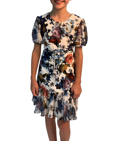 Helena Floral-Print Short-Sleeve Ruffle-Hem Chiffon Combo Dress, Size 7-14