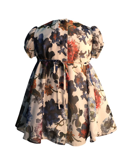 Helena Girl's Puffy Sleeve Floral Dress, Size 6-18 Months