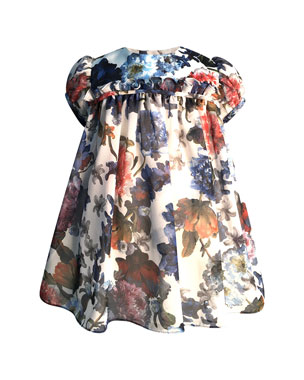 8aa3072a5379 Helena Girl's Puffy Sleeve Floral Dress, Size 6-18 Months