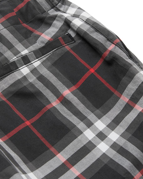 Burberry Teo Relaxed Check Twill Pants, Size 3-14