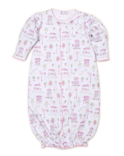 Parisian Promenade Printed Convertible Sleep Gown, Size Newborn-Small