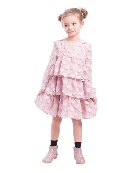 Imoga Chiffon Heart Long-Sleeve Dress, Size 4-6