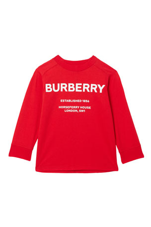 Burberry Griffon Long-Sleeve Logo Tee, Size 3-14