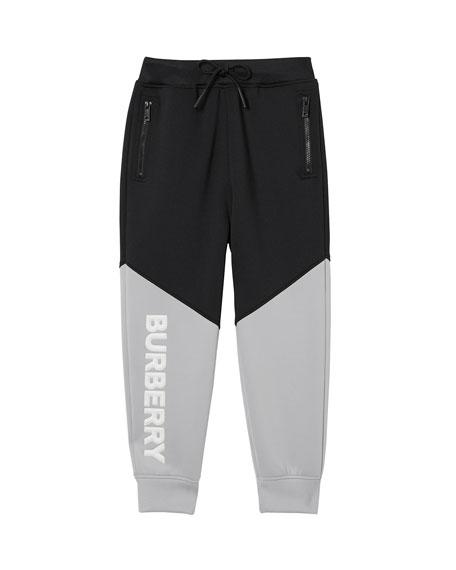 Burberry Ashley Two-Tone Neoprene Logo Joggers, Size 3-14