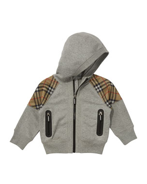 80fc56ccf68465 Burberry Hamilton Check-Trim Hooded Zip-Up Jacket, Size 3-14