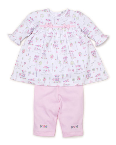 Parisian Promenade Printed Dress w/ Embroidered Leggings  Size 3-24 Months