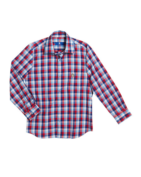 Stefano Ricci Boys' Checked Long-Sleeve Shirt, Size 6-14