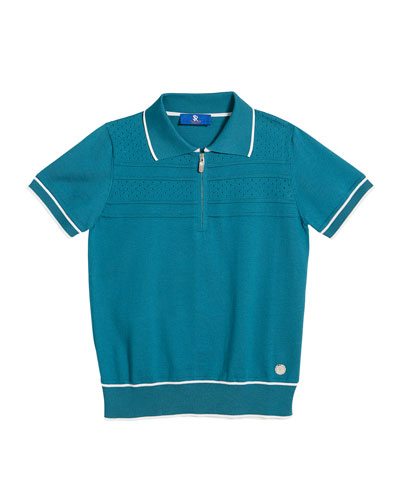 Short-Sleeve Knit Polo Sweater, Size 6-14