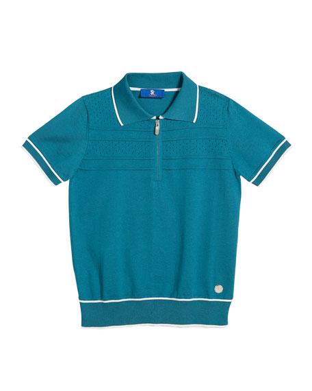 Stefano Ricci Boys' Short-Sleeve Knit Polo Sweater, Size 6-14