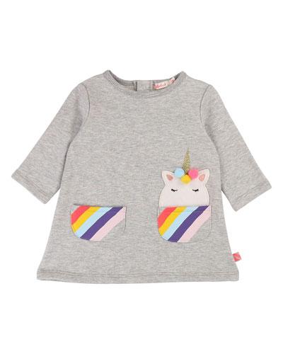 Long-Sleeve Dress w/ Striped Unicorn Pockets, Size 12M-3