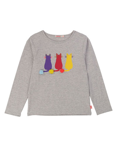 Long-Sleeve Cat Graphic Tee  Size 4-12