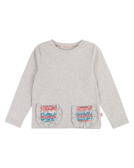 Billieblush Long-Sleeve Tee w/ Ruffle & Sequin Pockets, Size 4-12