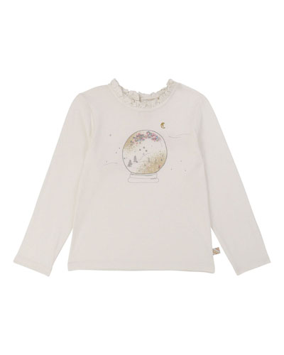 Girls' Snowglobe Long-Sleeve Top w/ Ruffle Collar  Size 4-12