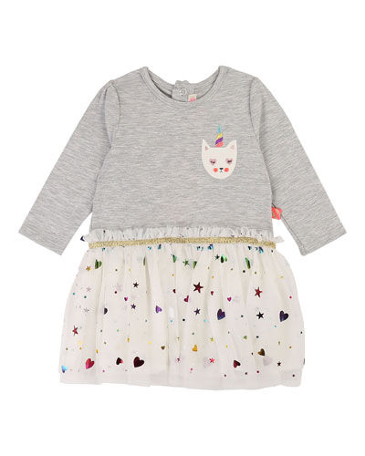 Jersey & Tulle Long-Sleeve Dress  Size 12M-3