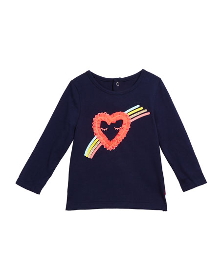 Billieblush Girl's Heart & Rainbow Long-Sleeve Tee, Size 12M-3