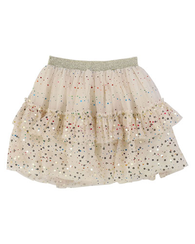 Metallic Printed Mesh Tutu Skirt  Size 4-12