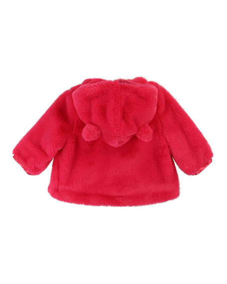 Billieblush Girls' Faux-Fur Jacket w/ Heart-Shaped Pockets, Size 12 Months - 3