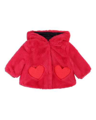 Girls' Faux-Fur Jacket w/ Heart-Shaped Pockets  Size 12 Months - 3