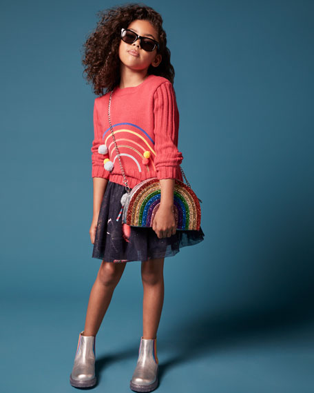 Image 2 of 3: Billieblush Girl's Glitter Tulle Skirt w/ Candy Pompom Detail, Size 4-12