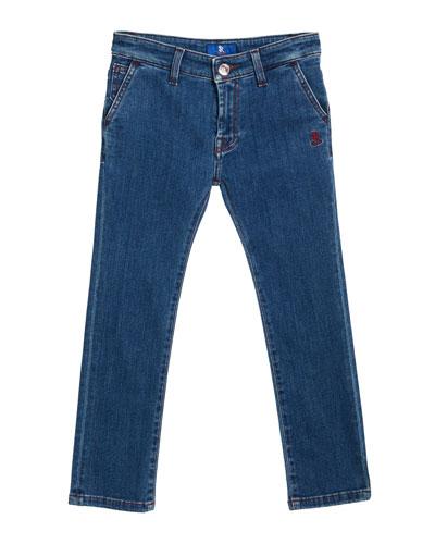 Kids' Denim Sport Trousers, Size 6-10
