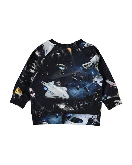 Molo Elmo Space Print Long-Sleeve Tee, Size 6-24 Months