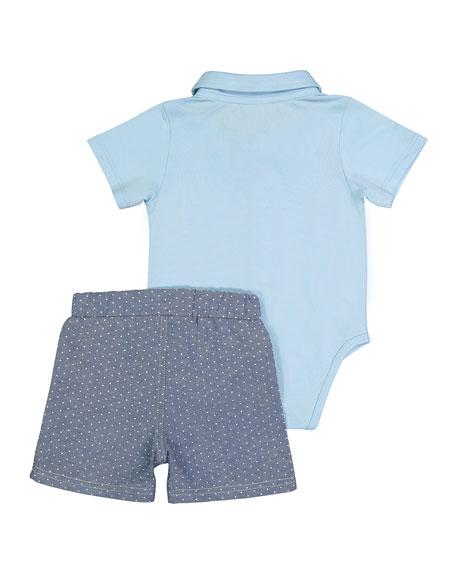 Andy & Evan Suspender Shirtzie Bodysuit w/ Matching Shorts, Size 3-36 Months