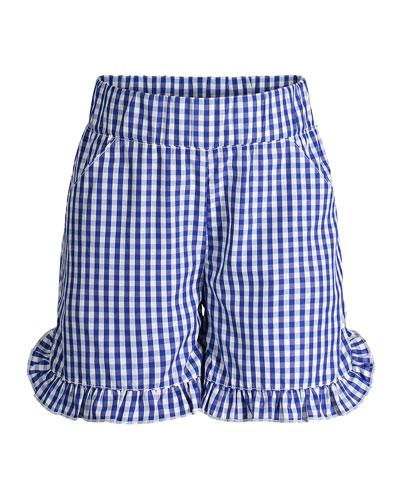 Ruffle Hem Gingham Shorts  Size 2-6X