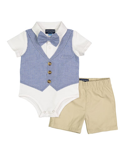 Gingham Vest Shirtzie Bodysuit w/ Matching Shorts  Size 3-26 Months